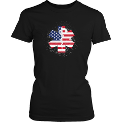 Limited Edition - EMT Flag Star of Life Black Ladies Classic Shirt / Black / S