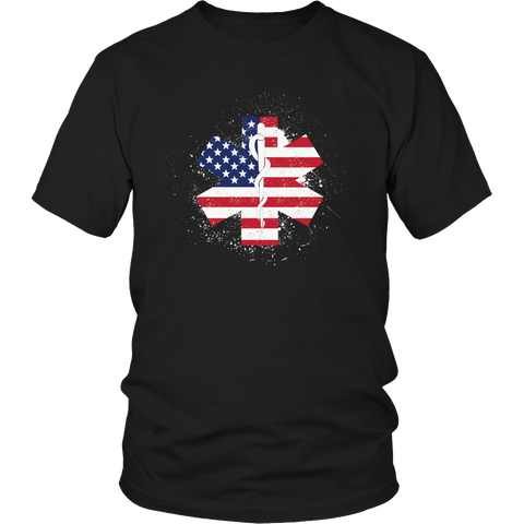 Limited Edition - EMT Flag Star of Life Black Unisex Shirt / Black / S