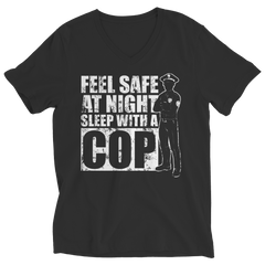 Limited Edition - Feel safe at night sleep with a Cop Ladies V-Neck / Black / S