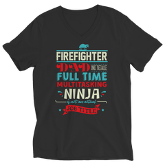 Limited Edition - FireFighter Ninja Dad Ladies V-Neck / Black / S
