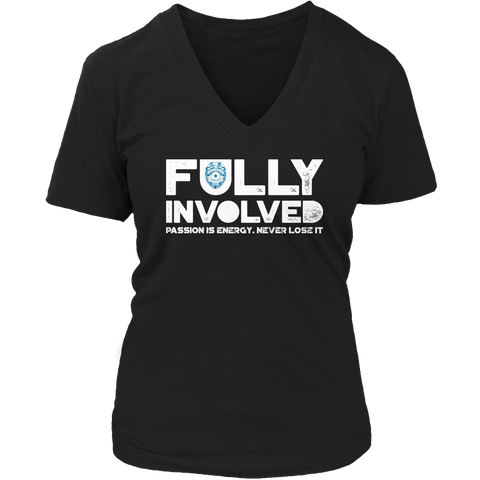 Limited Edition - Fully Involved POLICE Ladies V-Neck / Black / S