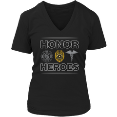 Limited Edition - Honor Heroes-POLICE Ladies V-Neck / Black / S