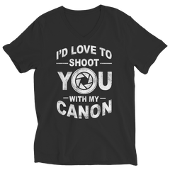 Limited Edition - I'd Love To Shoot You With My Canon Ladies V-Neck / Black / S