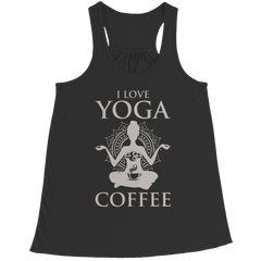 Limited Edition - I Love Yoga & Coffee Bella Flowy Racerback Tank / Black / L