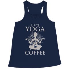 Limited Edition - I Love Yoga & Coffee Bella Flowy Racerback Tank / Navy / L