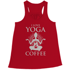 Limited Edition - I Love Yoga & Coffee Bella Flowy Racerback Tank / Red / L