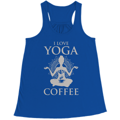 Limited Edition - I Love Yoga & Coffee Bella Flowy Racerback Tank / Royal / L
