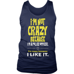Limited Edition -I'm Not Crazy-POLICE OFFICER Tank Top / Navy / S