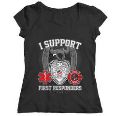 Limited Edition - I Support First Responders Ladies Classic Shirt / Black / S