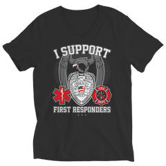 Limited Edition - I Support First Responders Ladies V-Neck / Black / S
