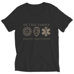 Limited Edition - In This Family Nobody Fights Alone Ladies V-Neck / Black / S