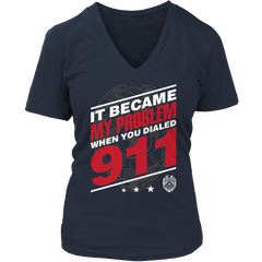 Limited Edition - It Became My Problem-POLICE Ladies V-Neck / Navy / S