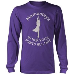 Limited Edition - Mamastays In Her Yoga Pants All Day Long Sleeve / Purple / S