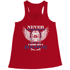 Limited Edition - Never Underestimate The Power Of A Woman With A Badge. Bella Flowy Racerback Tank / Red / L