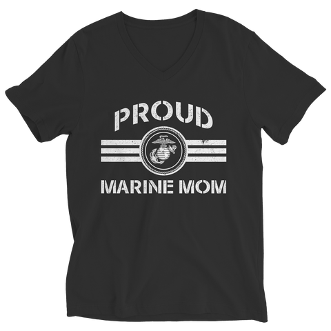 Limited Edition - Proud Marine Mom Ladies V-Neck / Black / S