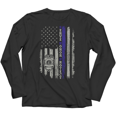 Limited Edition - Serve Honor Protect Flag Long Sleeve / Black / S