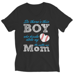 Limited Edition - So, There's this Boy who kinda stole my heart. He calls me Mom (baseball) Ladies V-Neck / Black / S