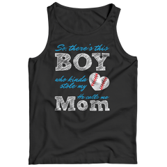 Limited Edition - So, There's this Boy who kinda stole my heart. He calls me Mom (baseball) Tank Top / Black / S