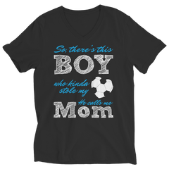 Limited Edition - So, There's this Boy who kinda stole my heart. He calls me Mom (soccer) Ladies V-Neck / Black / S