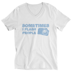 Limited Edition - Sometimes I Flash People Ladies V-Neck / White / S