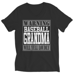 Limited Edition - Warning Baseball Grandma will Yell Loudly Ladies V-Neck / Black / S