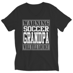 Limited Edition - Warning Soccer Grandpa will Yell Loudly Ladies V-Neck / Black / S