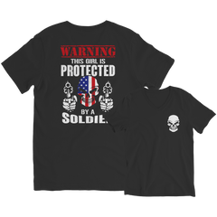 Limited Edition - Warning This Girl is Protected by a Soldier Ladies V-Neck / Black / S