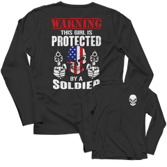 Limited Edition - Warning This Girl is Protected by a Soldier Long Sleeve / Black / S