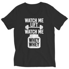 Limited Edition - Watch Me Lift Watch Me Whey Whey Ladies V-Neck / Black / S