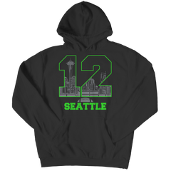 Seattle Number 12 Hoodie / Black / 3XL