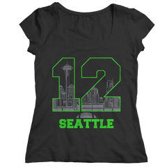 Seattle Number 12 Ladies Classic Shirt / Black / 2XL