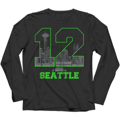 Seattle Number 12 Long Sleeve / Black / 3XL