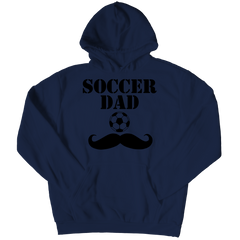 Soccer Dad Moustache Hoodie / Navy / 3XL