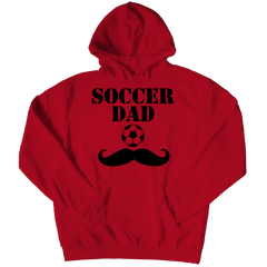 Soccer Dad Moustache Hoodie / Red / 3XL