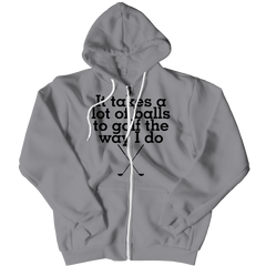 Takes a Lot Of Balls Zipper Hoodie / Athletic Heather / 2XL