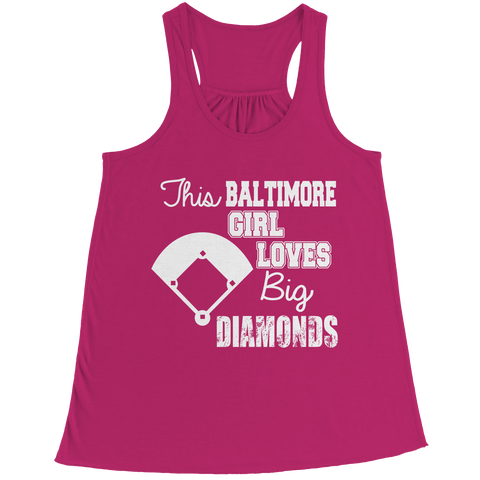 This Baltimore Girl Loves Big Diamonds Bella Flowy Racerback Tank / Pink / 2XL