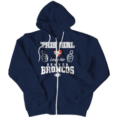 This Girl Loves Her Broncos Zipper Hoodie / Navy / 3XL