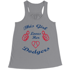 This Girl Loves Her Dodgers Bella Flowy Racerback Tank / Athletic Heather / 2XL