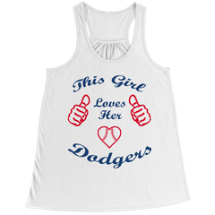 This Girl Loves Her Dodgers Bella Flowy Racerback Tank / White / XL