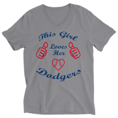 This Girl Loves Her Dodgers Ladies V-Neck / Athletic Heather / 2XL