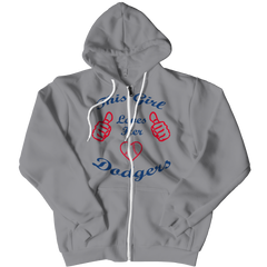 This Girl Loves Her Dodgers Zipper Hoodie / Athletic Heather / 2XL
