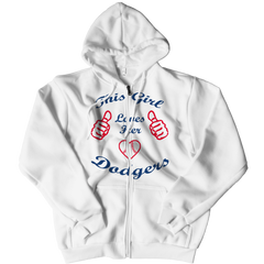 This Girl Loves Her Dodgers Zipper Hoodie / White / 3XL
