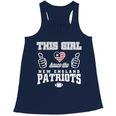 This Girl Loves the Patriots Bella Flowy Racerback Tank / Navy / 2XL