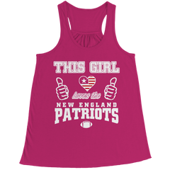 This Girl Loves the Patriots Bella Flowy Racerback Tank / Pink / 2XL