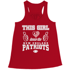 This Girl Loves the Patriots Bella Flowy Racerback Tank / Red / 2XL