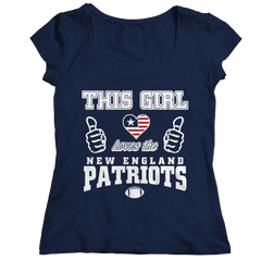 This Girl Loves the Patriots Ladies Classic Shirt / Navy / 2XL