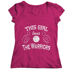 This Girl Loves The Warriors Ladies Classic Shirt / Pink / 2XL
