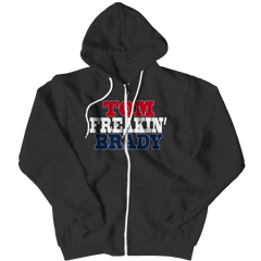Tom Freakin Brady Zipper Hoodie / Black / 3XL