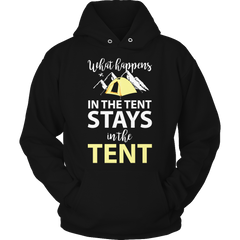 What Happens In The Tent Hoodie / Black / S
