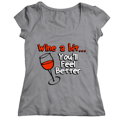 Wine A Bit Ladies Classic Shirt / Athletic Heather / S